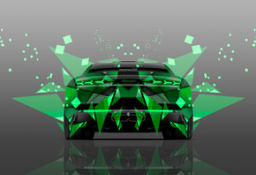 Tony Kokhan, Lamborghini, Estoque, Back, Abstract, Aerography, Green, Colors, Car, el Tony Cars, Photoshop, 4K, Wallpapers, Design, Art, Style, Supercar, Auto, Silver, Effects, Тони Кохан, Фотошоп, Ламборгини, Эсток, Вид Сзади, Зеленая, Машина, Зеленое, А