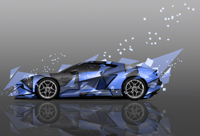 Tony Kokhan, Lamborghini, Asterion, Supercar, Hybrid, Side, Abstract, Aerography, Blue, Colors, el Tony Cars, Design, Art, Style, Photoshop, 4K, Wallpapers, Auto, Supercars, Тони Кохан, Фотошоп, Ламборгини, Астерион, Вид Сбоку, Суперкар, Гибрид, Синяя, Ма
