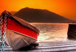 lake, boat, river, water, mountain, sunset