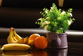 banana, orange, table, yellow, green