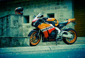 honda, cbr, fireblade, repsol, black, orange, moto