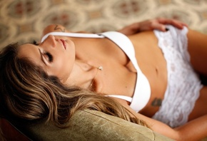 carol magalhaes, pendant, brown hair, blonde locks, white bra, white pantie ...