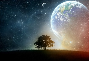earth, moon, space, tree, stars