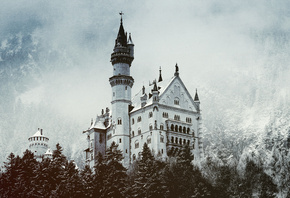castle, germany, snow, tree
