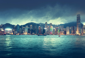 Hong kong, china, city, skyline, sea, river, ships, buildings, sky, clouds, ...