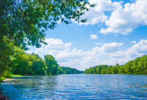 River lune, sea, lake, deep forest, trees, sky, clouds, landscape, nature,  ...