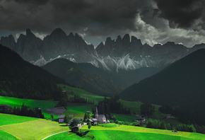 alpes, mountain, green, tree, house