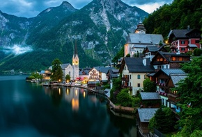 hallstatt, austria, lake, water, mountain, tree, light