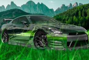 Tony Kokhan, Nissan, GTR, R35, JDM, Crystal, Nature, Car, Green, Grass, Mou ...