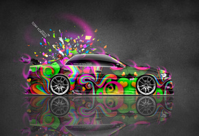 Tony Kokhan, Toyota, Chaser, JZX100, JDM, Tuning, Side, Super, Abstract, Aerography, Japan, Style, Vinyl, Pink, Neon, Effects, Silver, Gray, Multicolors, 4K, Wallpapers, Design, Art, Photoshop, Domo Kun, Toy, Car, el Tony Cars, Тони Кохан, Фотошоп, Тойота