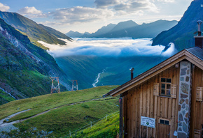 alpes, mountain, lake, cottage
