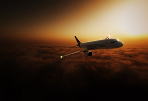 airbus320, fly, sky, clouds