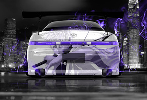 Tony Kokhan, Toyota, Mark2, JZX90, JDM, Tuning, Samurai, Anime, Violet, Neon, Effects, Energy, Japan, City, Aerography, Back, Black, White, Silver, Photoshop, Design, Art, Style, el Tony Cars, Wallpapers, Тони Кохан, Фотошоп, Тойота, Марк2, Вид Сзади, Авт