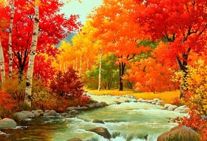 autumn, forest, patch, leaves, tree, river