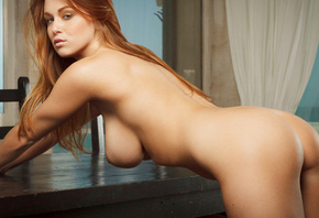Leanna Decker, girls, women, models, redhead, butt, on all fours, back view ...