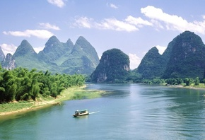 boat, river, mountain, water