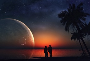 sunset, couple, moon, sky
