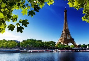 eiffel, tower, city, paris, france, water, boat, river