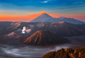 volcano, eruption, sky, mountains, landsсape, fantastic, вулкан, Бромо, дым, горы, небо, Java, island, volcano, Bromo, остров, Ява