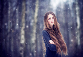 снег, girl, long haired, волосы, brown haired, snow, лес
