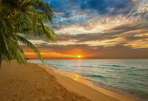 sunset, beach, sea, shore, paradise, tropical, sand, море, пляж, закат, бер ...