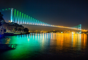 Bosphorus Bridge, Istanbul, turkey, night, lights, buildings, Sea of Marmar ...