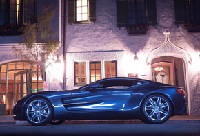 Aston Martin, one 77, supercar, night, house, light, street