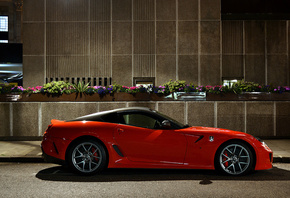 Ferrari, 599, gto, red, street, night, road, flowers, light