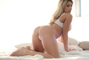 Ashley Emma, sexy, girl, model, blonde, face, body, legs, ass, lingerie, bra, thong, doggy, bed, pillow, white