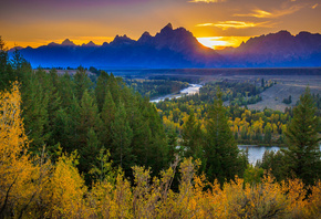 River Overlook, Grand Teton National Park, sunset, Mountains, river, forest