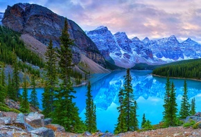 Moraine Lake, Banff National Park, Canada, lake, trees, Mountains