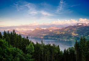 Mountains, Switzerland, Lake Zurich, nature, lake, forest