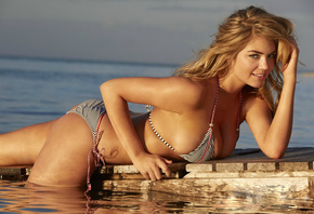Kate Upton, Sports Illustrated, girl, model, blond, breast, boobs, sea, Кей ...