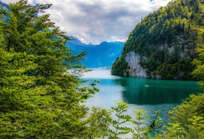 Bavarian Alps, Bavaria, Germany, Lake Konigssee, Bavarian Alps, Bayern, Germany, lake, Mountains, trees