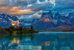 landscape, Argentina, Mountains, lake, patagonia, clouds