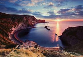 Jurassic Coast, sea, ocean, coast, sunset, beautiful view
