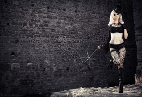 Susan Wayland, blonde, dark, black, hat, boots, umbrella, wall, блондинка,  ...