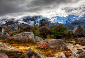 Argentina, Mountains, slope, vertices, stones, shrubs