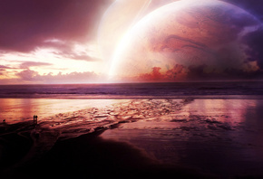 planet, sea, ebb, bottom, people, sunset