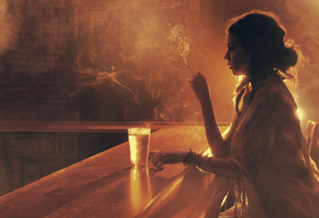 girl, bar, glass, cigarette, smoke, light