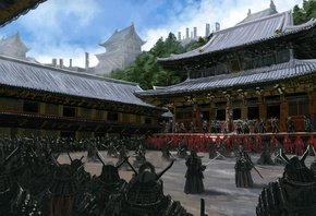 Art, Asia, temple, samurai, people, Warrior