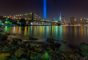 Brooklyn Bridge, Manhattan, New York City, East River, Tribute in Light, Br ...