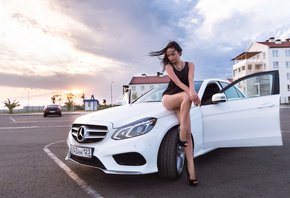 auto-girl, Mercedes-Benz, мерседес, Girls, Model, ladyCar, машина, девушка, ...