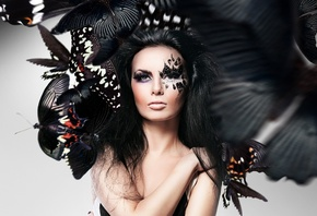 girl, makeup, face, Butterflies, Photoshop