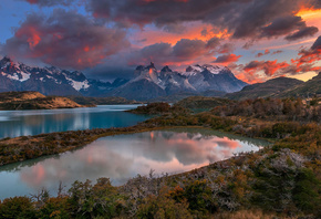 Chile, Patagonia, река, горы, облака