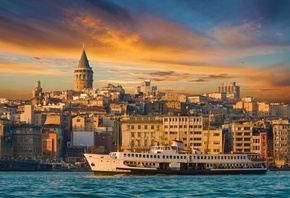 Istanbul, turkey, buildings, Sea of Marmara, city, Galata Tower, ferry, ship, nature, landscape