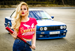 Julia, Girl, Beauty, View, Lips, Nice, Bat, Car, BMW, M3, E30, Blue