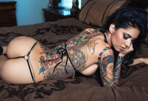 alessandra papa, girl, brunette, bed, long hair, widescreen cut, hot, bedroom, ass, bikini, tattoo