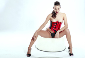 Celeste Star, pornactress, long, stacked, hair, hairstyle, shoulders, queue, posing, leather, lingerie, corset, string, heels, legs, cameltoe, crotch