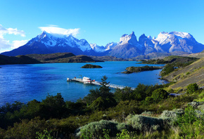Lake Pehoe, Torres del Paine, Patagonia, Chile, Чили, Патагония, небо, горы, озеро, пирс, причал